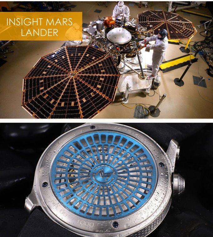 화성 임무, 화성과 인사이트 탐사선을 담은 오토매틱 시계